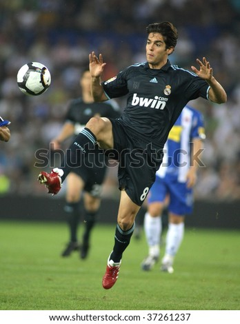BARCELONA SEPT 12 Brazilian player Kaka of Real Madrid in action during a Spanish League match against RCD Espanyol at the Estadi Cornella-El Prat on September 12 2009 in Barcelona Spain