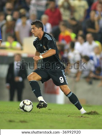 BARCELONA SEPT 12 Cristiano Ronaldo of Real Madrid in action during a Spanish League match against RCD Espanyol at the Estadi Cornella-El Prat on September 12 2009 in Barcelona Spain