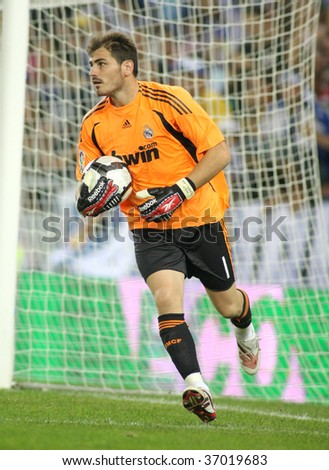 BARCELONA - SEPT. 12: Iker Casillas of Real Madrid in action during a Spanish League match against RCD Espanyol at the Estadi Cornella-El Prat on September 12, 2009 in Barcelona, Spain - stock photo