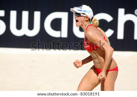BARCELONA - SEPT 10: North American beach Volley player Jennifer Kessy celebrates a point during a match of the Swatch FIVB Beach Volley World Tour at monjuich September 10, 2009 in Barcelona, Spain