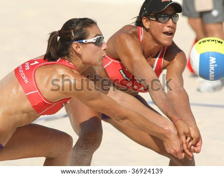 BARCELONA - SEPT. 12: North Americans beach Volley players Akers & Turner in action during a match of the Swatch FIVB Beach Volley World Tour 09 at monjuich September 12, 2009 in Barcelona, Spain.
