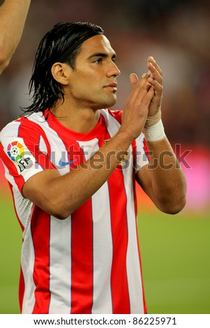 BARCELONA - SEPT, 24: Radamel Falcao of Atletico Madrid posing before the spanish league match against Atletico Madrid at the Nou Camp Stadium on September 24, 2011 in Barcelona, Spain