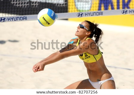 BARCELONA - SEPT, 10: Spanish beach Volley player Alejandra Simon  in action during a match of the Swatch FIVB Beach Volley World Tour'09 at monjuich September 10, 2009 in Barcelona, Spain - stock photo