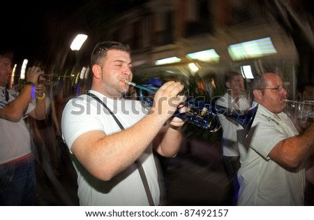 BARCELONA - SEPT, 23: Trumpeter from Local Folkloric music band performing his show at Barcelona Festival City on September 23, 2011 in Barcelona, Spain
