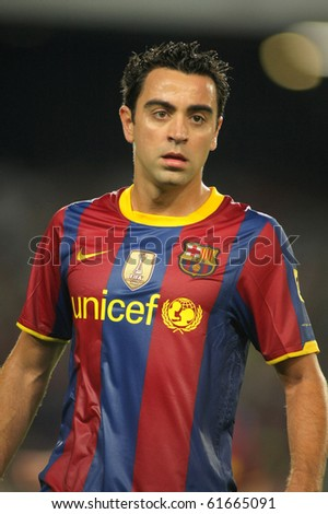 BARCELONA - SEPT 22: Xavi Hernandez of Barcelona during Spanish league match between FC Barcelona and Sporting Gijon at Nou Camp Stadium in Barcelona, Spain. September 22, 2010