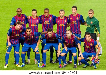 BARCELONA - SEPTEMBER 13: Barcelona players pose for a photo before the Champions League match between FC Barcelona and AC Milan, final score 2 - 2, on September 13, 2011, in Camp Nou stadium, Barcelona, Spain.