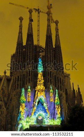 BARCELONA -Â?Â? SEPTEMBER 22: La Sagrada Familia, cathedral designed by Gaudi, with special illumination to commemorate La Merce a traditional Barcelona holiday, on September 22, 2012, Barcelona, Spain.