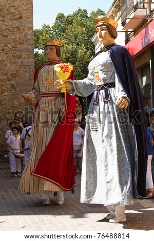 BARCELONA - SEPTEMBER 12: La Verema Wine Festival, a traditional party of Alella, with a traditional parade of Giants and Big heads, on September 12, 2010 in Alella (Spain).
