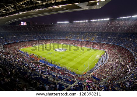BARCELONA SEPTEMBER 13 Panoramic view of Camp Nou stadium before the Champions League match between FC Barcelona and AC Milan final score 2 2 on September 13 2011 in Barcelona Spain