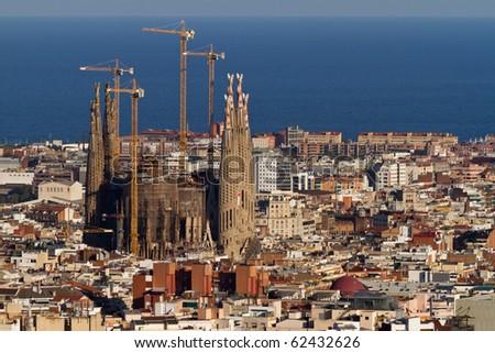 BARCELONA - SEPTEMBER 13: Sagrada Familia cathedral on September 13, 2010 in Barcelona. Sagrada Familia is the most famous building created by Antonio Gaudi.