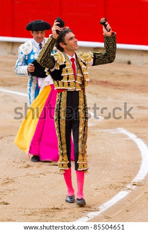BARCELONA - SEPTEMBER 25: The famous Spanish torero Jose Tomas celebrating his success at the last bullfight in Catalonia before the government prohibition, on September 25, 2011 in Barcelona, Spain.