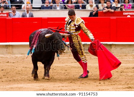 BARCELONA - SEPTEMBER 24: The famous torero Jose Maria Manzanares performs at the last bullfight in Catalonia before the government prohibition, on September 24, 2011 in Barcelona, Spain.