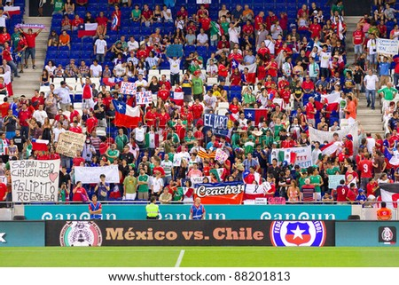 BARCELONA - SEPTEMBER 4: Unidentified supporters during the friendly match between Mexico and Chile, final score 1 - 0, on September 4, 2011, in Cornella stadium, Barcelona, Spain.