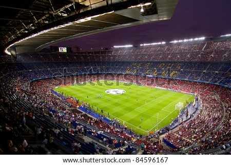 BARCELONA - SEPTEMBER 13: View of Camp Nou stadium before the Champions League match between FC Barcelona and AC Milan, final score 2 - 2, on September 13, 2011, in Barcelona, Spain.
