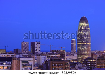 Barcelona skyline depicting Torre Agbar, Spain, by night