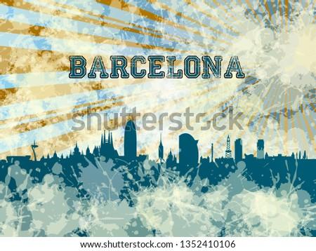 Barcelona skyline with color.