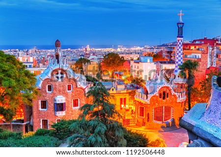 Barcelona, Spain. Amazing colorful night cityscape of Barcelona, view on Park Guell. UNESCO world heritage list site, popular European travel destination.
