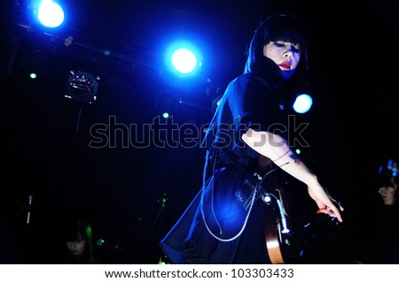 BARCELONA, SPAIN - APRIL 5: Dee Dee Penny, singer of Dum Dum Girls band, performs at Apolo on April 5, 2012 in Barcelona, Spain.