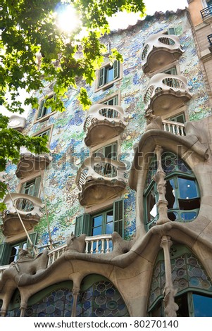 BARCELONA, SPAIN - APRIL 28: Exterior of Casa Batllo on APRIL 28, 2011, a building restored by great catalan architect Antoni Gaudi. Gaudi avoids straight lines completely.
