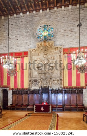BARCELONA, SPAIN- APRIL 23:  Gothic architecture of Ayuntamenty de Barcelona in April 23, 2013 in Barcelona, Spain.  Hall named Council of One Hundred dated 1369 - 1373