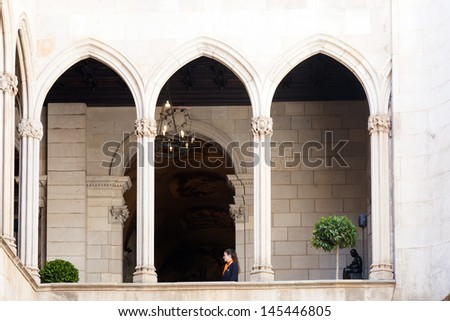 BARCELONA, SPAIN - APRIL 23: Gothic architecture of city hall in April 23, 2013 in Barcelona, Spain.  Inside gallery dated 1577