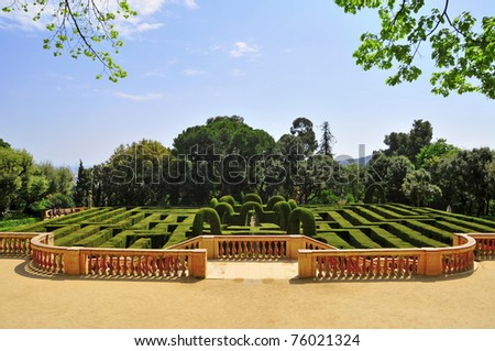 BARCELONA, SPAIN - APRIL 15: Parc del Laberint d'Horta on April 15, 2011 in Barcelona, Spain. The gardens hosted receptions to the Spanish sovereigns on three occasions since its construction in 1791