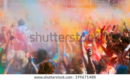 BARCELONA, SPAIN - APRIL 6, 2014: People at Festival of colors Holi Barcelona. It is traditional holiday of India
