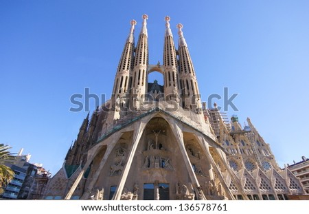 BARCELONA, SPAIN - APRIL 22: Sagrada Familia in April 22, 2012 in Barcelona, Spain. Basilica and Expiatory Church of Holy Family by Gaudi, building is begun in 1882 and completion is planned in 2030