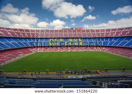 BARCELONA SPAIN AUG 06 Panoramic view of FC Barcelona stadium Camp Nou on August 06 2013 in Barcelona Spain By capacity its the largest stadium in Europe