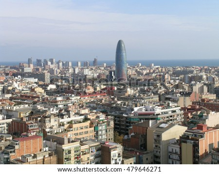 BARCELONA, SPAIN - AUGUST 2006: Aerial view from the Sagrada Familia. In the background, the Agbar Tower.