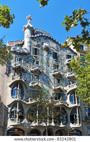 BARCELONA, SPAIN - AUGUST 16: Casa Batllo on August 16, 2011 in Barcelona, Spain. The famous building was designed by Antoni Gaudi.