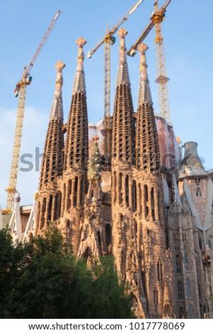 Barcelona, Spain - August 26, 2014: Cathedral La Sagrada Familia is under construction #1017778069