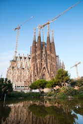 Barcelona, Spain - August 26, 2014: La Sagrada Familia, cathedral designed by Antoni Gaudi which is being build since 1882 and still is under construction