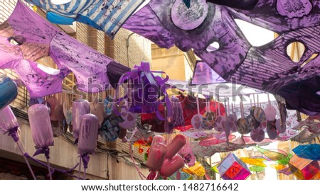 BARCELONA, SPAIN - AUGUST 16, 2019: Major de Gracia Festival in Barcelona. Decorated streets of Gracia district eco second life recycling plastic  #1482716642