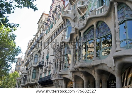 BARCELONA SPAIN - AUGUST 19: Outside view of Casa Batllo on August 19, 2009, a building restored by great catalan architect Antoni Gaudi.