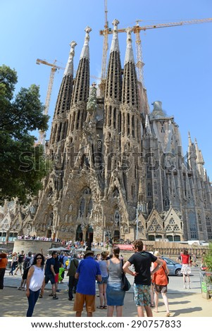 BARCELONA, SPAIN. CIRCA JUNE 2015. The Sagrada Familia cathedral , one of the signature works of Antoni Gaudí, remains a top tourist attraction in Barcelona, despite still being â??under constructionâ?�.