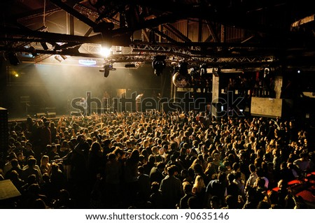 BARCELONA, SPAIN - DEC 10: Friendly Fires band performs at Razzmatazz on December 10, 2011 in Barcelona, Spain.