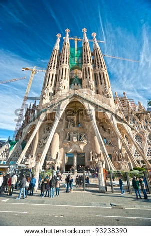 BARCELONA, SPAIN - DECEMBER 14: La Sagrada Familia, the impressive cathedral designed by Gaudi, which is unfinished on December 14, 2009 in Barcelona, Spain.