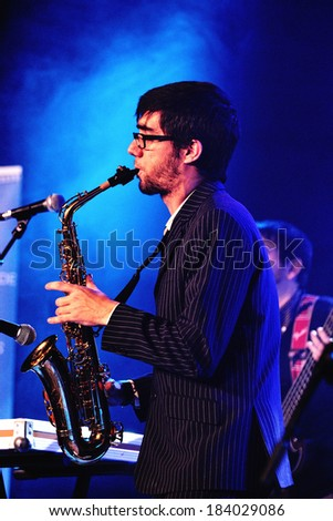 BARCELONA, SPAIN - FEB 14: The Free Fall Band (band from Catalonia) performs  at Bikini Club on February 14, 2014 in Barcelona, Spain.
