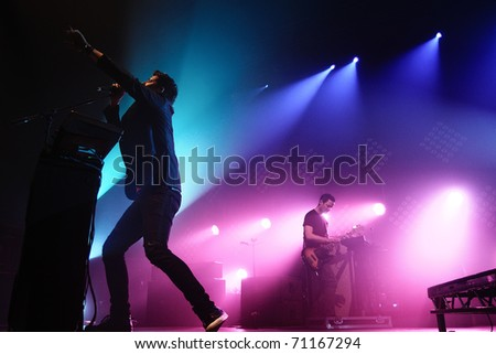 BARCELONA, SPAIN - FEB 12: The Script performs at Razzmatazz on February 12, 2011 in Barcelona, Spain.