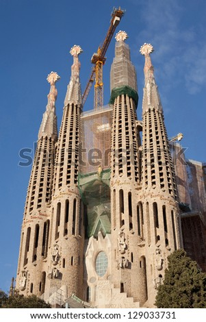 BARCELONA, SPAIN - FEBRUARY 9: La Sagrada Familia, the basilica designed by Antoni Gaudi, which construction commenced in 1882 and is not finished yet on February 9, 2013 in Barcelona, Spain.