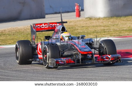 BARCELONA, SPAIN - FEBRUARY 21: Lewis Hamilton of McLaren F1 team racing at Formula One Teams Test Days at Catalunya circuit on February 21, 2012 in Barcelona, Spain.