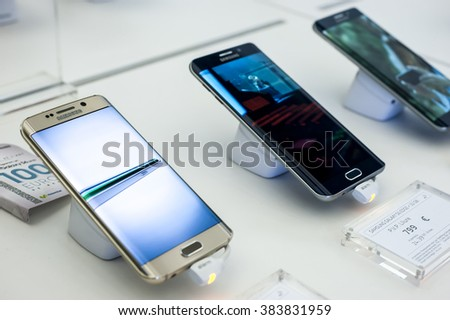 BARCELONA, SPAIN - FEBRUARY 27, 2016: New Samsung Galaxy phones presented at Mobile World Centre of Barcelona during Mobile World Congress 2016 in Barcelona, Spain.
