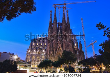 BARCELONA, SPAIN - FEBRUARY 24: Sagrada Familia on February 24, 2012: La Sagrada Familia - the impressive cathedral designed by Gaudi, which is being build since 19 March 1882 and is not finished yet.