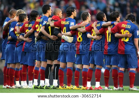 BARCELONA SPAIN Futbol Club Barcelona Team in silence minute before the match between FC Barcelona and Recreativo de Huelva in Nou Camp Stadium in Barcelona Spain April 11 2009