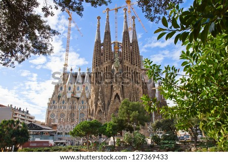 BARCELONA, SPAIN - JANUARY 21: La Sagrada Familia - impressive cathedral designed by Antonio Gaudi, being build since 19 March 1882 is yet to finish on January 21, 2013 in Barcelona, Spain