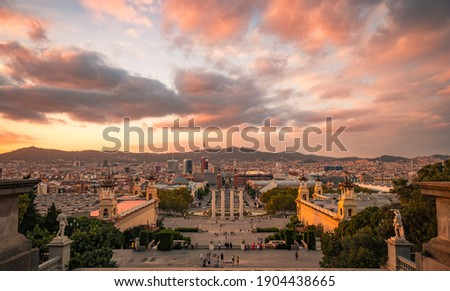 BARCELONA, SPAIN- JANUARY 20, 2020: Panorama of Barcelona from the mountain Montjuic. View of the square of Spain, Plaza de Espana. Catalonia, Spain