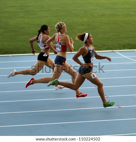BARCELONA, SPAIN - JULY 13: Athletes in the 400 meters hurdles on the 2012 IAAF World Junior Athletics Championships on July 13, 2012 in Barcelona, Spain