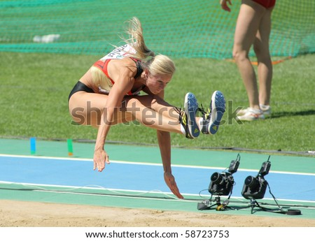 BARCELONA, SPAIN - JULY 27: Bianca Kappler of Germany competes on the Women long jump during the 20th European Athletics Championships at the Olympic Stadium on July 27, 2010 in Barcelona, Spain. - stock photo