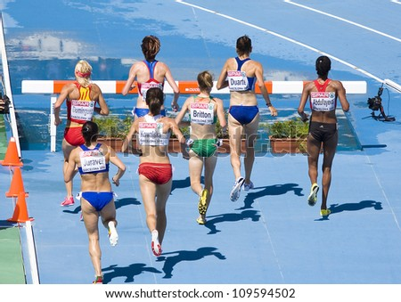 BARCELONA, SPAIN - JULY 28: Competitors of 3000 meters Steeplechase Women Round 1 of the 20th European Athletics Championships at the Olympic Stadium on July 28, 2010, in Barcelona, Spain.